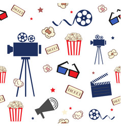 Cinema seamless pattern with movie elements vector