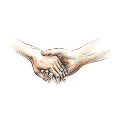 colored hand sketch holding hands from a splash of vector image