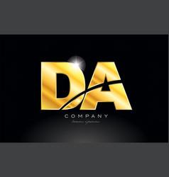 Combination letter da d a gold golden alphabet vector