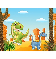 Cute dinosaur posing in the desert background vector image