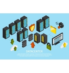 Datacenter Colored Poster vector