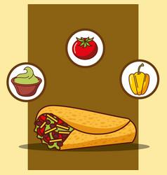 delicious burrito guacamole tomato and bell pepper vector image