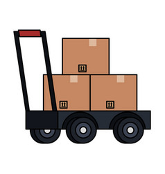 delivery cart handle with boxes vector image