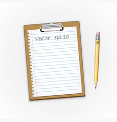 detailed brown clipboard with paper and pensil vector image