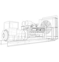 Diesel generator unit for factory the layers of vector