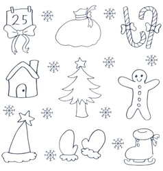 Doodle of hand draw christmas set vector image