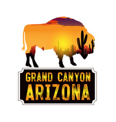 drawing a bison on a background a des vector image
