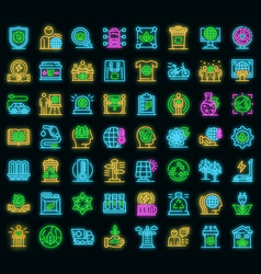 ecologist icons set neon vector image
