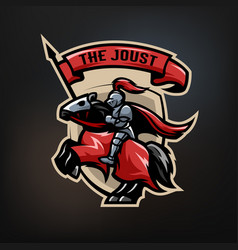 emblem of a medieval knight on a horse vector image