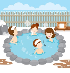 Family Relaxing In Hot Spring vector