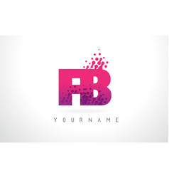Fb f b letter logo with pink purple color and vector