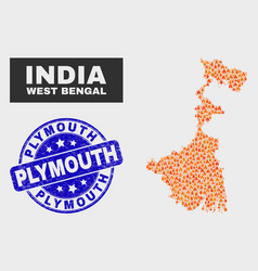 Fired mosaic west bengal state map and distress vector