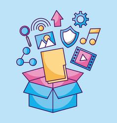 Folder file application fallen box packaging vector