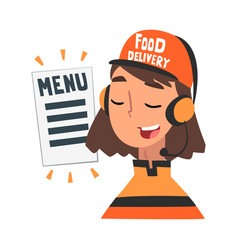 food express delivery service cheerful girl call vector image