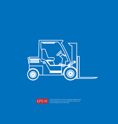 Forklift truck line icon warehouse fork loader vector