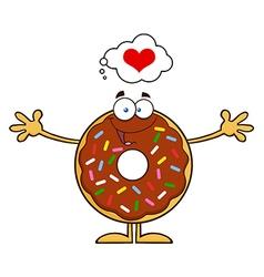 Funny Inlove Donut Cartoon vector image