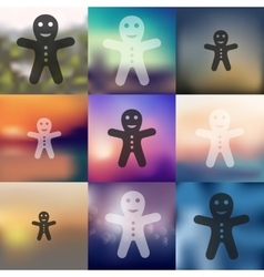 Gingerbread man icon on blurred background vector