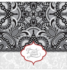 Grey floral ornamental template with place vector