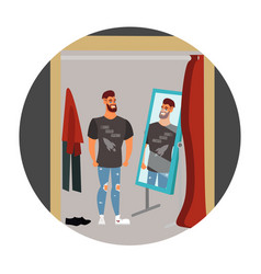 guy hipster in the store vector image