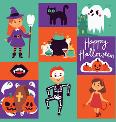 halloween kids costume trick or treat party vector image