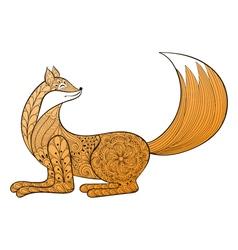 Happy fox hand drawn entangle artistic animal vector