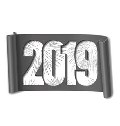 Happy new year card white number 2019 silver vector