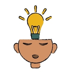 Head thinking bulb idea innovation design vector