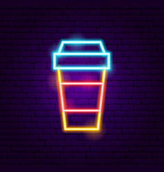 hot coffee neon sign vector image