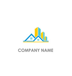 house modern building company logo vector image