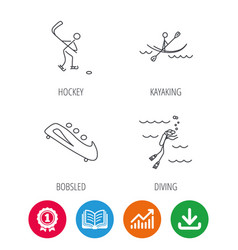 ice hockey diving and kayaking icons vector image
