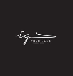 Initial letter ig logo - handwritten signature vector