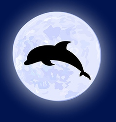 Jumping dolphin on night sky with full moon on the vector