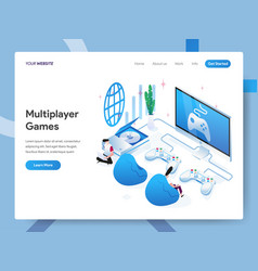 landing page template multiplayer games vector image