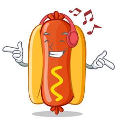 Listening music hot dog cartoon character vector
