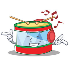 Listening music toy drum character cartoon vector