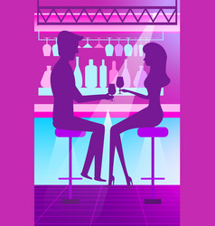 man and woman in bar drinking cocktails vector image