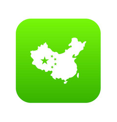 map of china icon digital green vector image