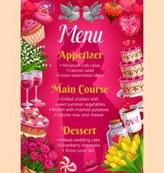 Menu on wedding main courses desserts appetizers vector