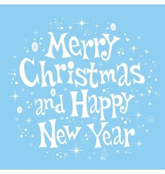 Merry Christmas and Happy New Year lettering retro vector
