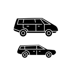 minivan black icon concept minivan sig vector image