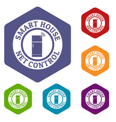net control icons hexahedron vector image