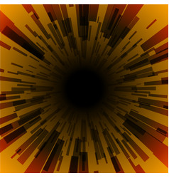 orange burst ray black hole dark stripe vector image