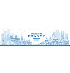 outline welcome to france skyline with blue vector image