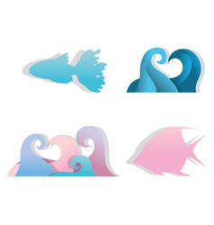 paper art underwater icons vector image