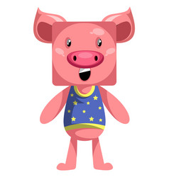 pig standing still on white background vector image