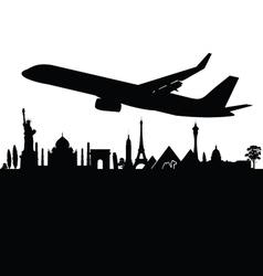 Plane above city black vector