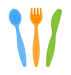plastic cutlery isolated on white vector image