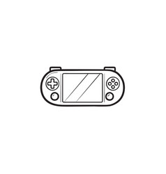 portable video game console hand drawn outline vector image