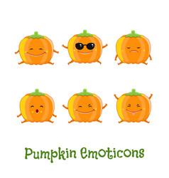 pumpkin smiles cute cartoon emoticons emoji icons vector image