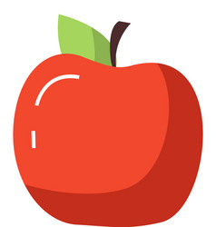 red apple with leaf on white healthy sweet fruit vector image